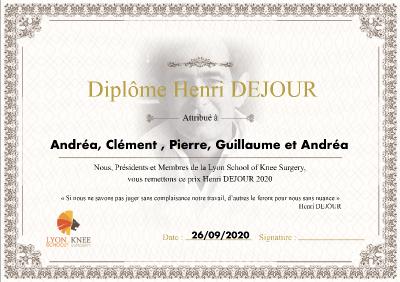 1er Prix Henri DEJOUR de la Lyon School of Knee Surgery: 5 lauréats invités.