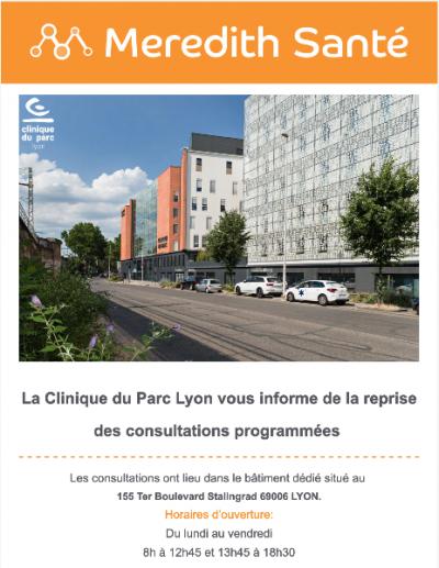 La Clinique du Parc Lyon vous informe de la reprise des consultations programmées
