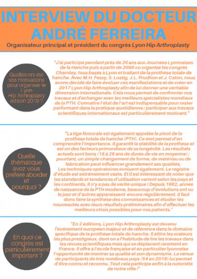 Congrès Lyon Hip Arthroplasty: Succès de la 2em édition présidée par André Ferreira